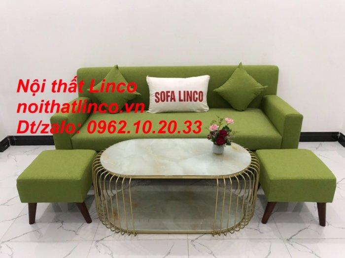 Bộ bàn ghế sofa băng văng 1m9 xanh lá giá rẻ đẹp vải bố Nội thất Linco Sài Gòn7