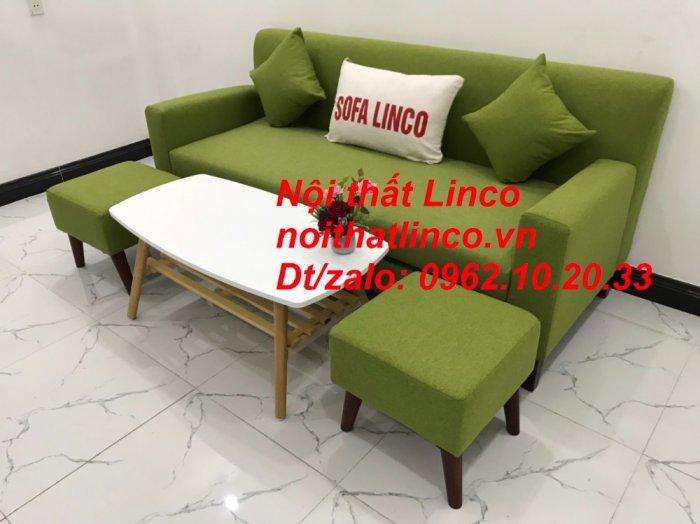 Bộ bàn ghế sofa băng văng 1m9 xanh lá giá rẻ đẹp vải bố Nội thất Linco Sài Gòn6