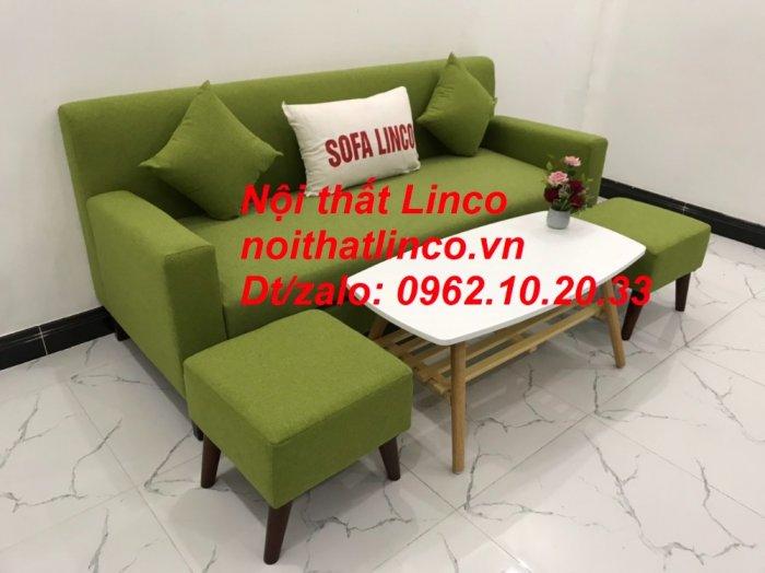 Bộ bàn ghế sofa băng văng 1m9 xanh lá giá rẻ đẹp vải bố Nội thất Linco Sài Gòn5