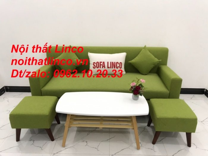 Bộ bàn ghế sofa băng văng 1m9 xanh lá giá rẻ đẹp vải bố Nội thất Linco Sài Gòn4