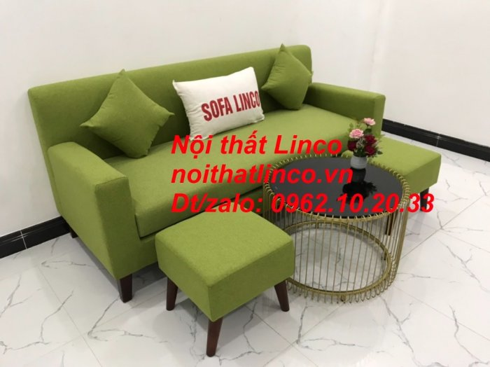 Bộ bàn ghế sofa băng văng 1m9 xanh lá giá rẻ đẹp vải bố Nội thất Linco Sài Gòn3