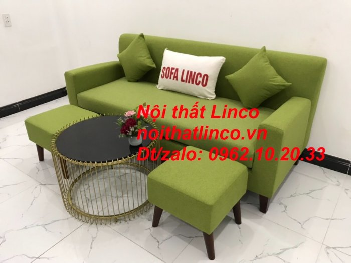 Bộ bàn ghế sofa băng văng 1m9 xanh lá giá rẻ đẹp vải bố Nội thất Linco Sài Gòn2