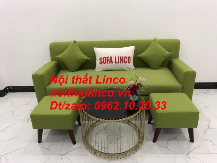 Bộ bàn ghế sofa băng văng 1m9 xanh lá giá rẻ đẹp vải bố Nội thất Linco Sài Gòn1