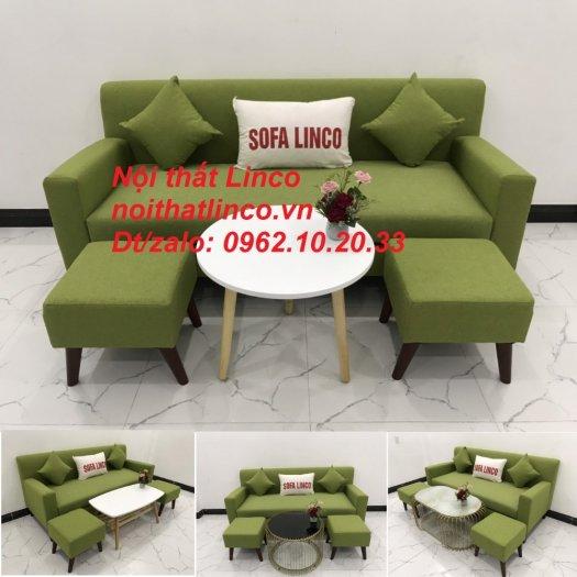 Bộ bàn ghế sofa băng văng 1m9 xanh lá giá rẻ đẹp vải bố Nội thất Linco Sài Gòn0