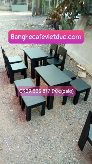 (Giá tại xưởng)Bàn ghế gỗ cafe có lưng,chất gỗ cao su đã qua xử lý keo,đẹp,bền,chất lượng3