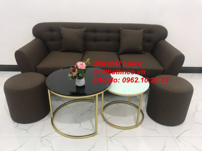 Bộ bàn ghế salon băng văng nâu cafe đen giá rẻ đẹp Nội thất Linco Sài Gòn HCM12