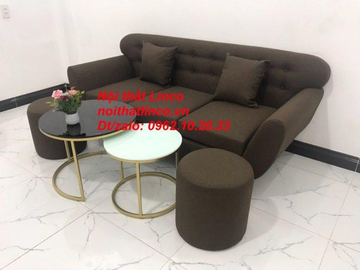 Bộ bàn ghế salon băng văng nâu cafe đen giá rẻ đẹp Nội thất Linco Sài Gòn HCM11