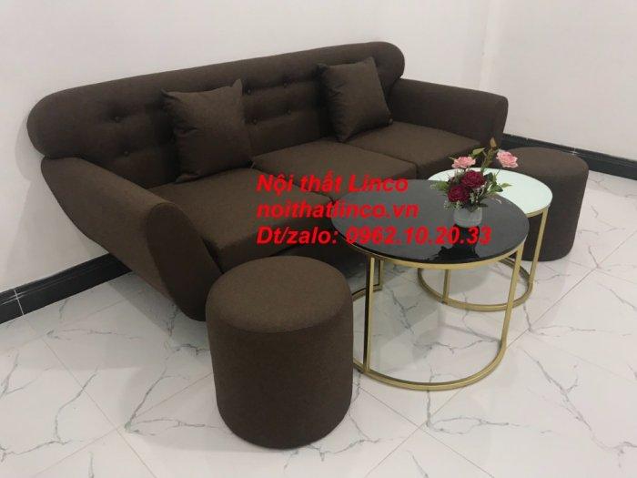 Bộ bàn ghế salon băng văng nâu cafe đen giá rẻ đẹp Nội thất Linco Sài Gòn HCM10