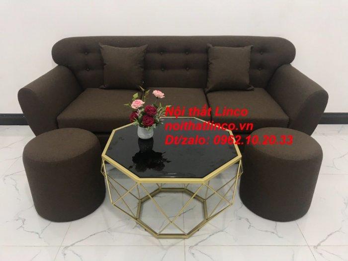 Bộ bàn ghế salon băng văng nâu cafe đen giá rẻ đẹp Nội thất Linco Sài Gòn HCM9