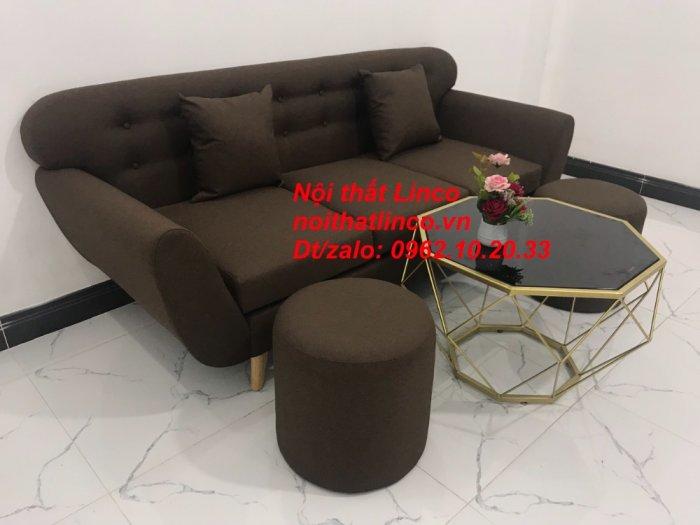 Bộ bàn ghế salon băng văng nâu cafe đen giá rẻ đẹp Nội thất Linco Sài Gòn HCM7