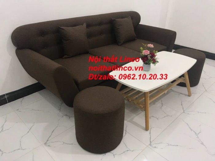 Bộ bàn ghế salon băng văng nâu cafe đen giá rẻ đẹp Nội thất Linco Sài Gòn HCM4