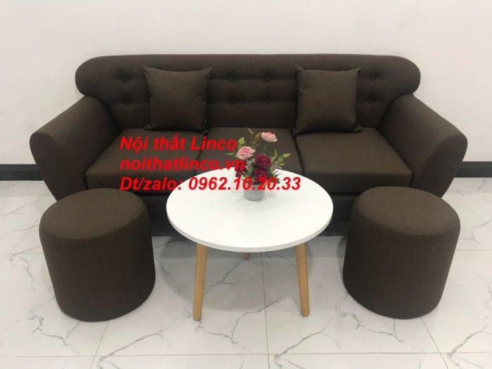 Bộ bàn ghế salon băng văng nâu cafe đen giá rẻ đẹp Nội thất Linco Sài Gòn HCM3
