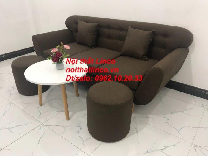 Bộ bàn ghế salon băng văng nâu cafe đen giá rẻ đẹp Nội thất Linco Sài Gòn HCM2