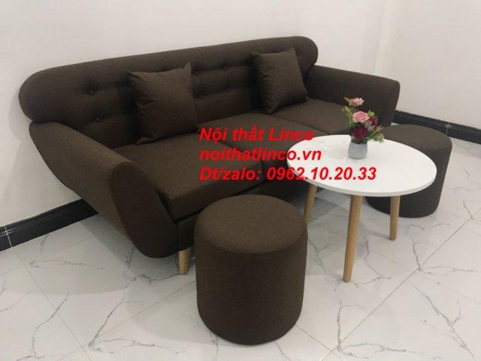 Bộ bàn ghế salon băng văng nâu cafe đen giá rẻ đẹp Nội thất Linco Sài Gòn HCM1