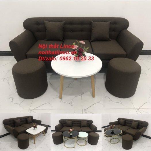 Bộ bàn ghế salon băng văng nâu cafe đen giá rẻ đẹp Nội thất Linco Sài Gòn HCM0