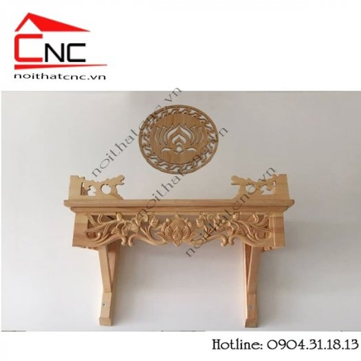 Bàn thờ treo tường bằng gỗ với thiết kế hoa sen đẹp4