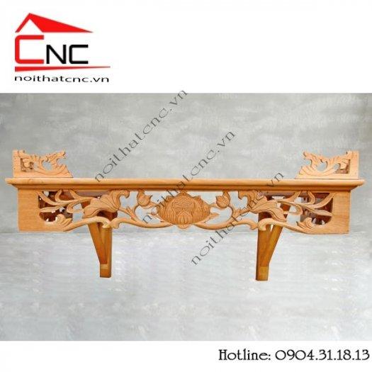 Bàn thờ treo tường bằng gỗ với thiết kế hoa sen đẹp3