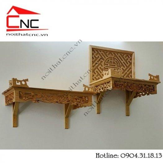 Bàn thờ treo tường bằng gỗ với thiết kế hoa sen đẹp2