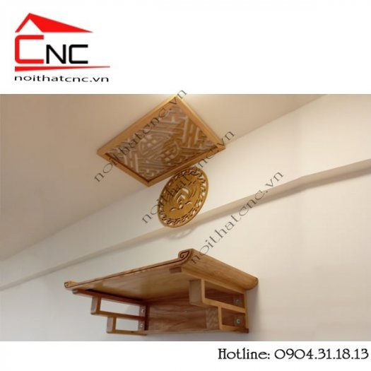 Bàn thờ treo tường bằng gỗ với thiết kế hoa sen đẹp1