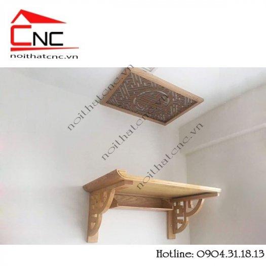 Bàn thờ treo tường bằng gỗ với thiết kế hoa sen đẹp0