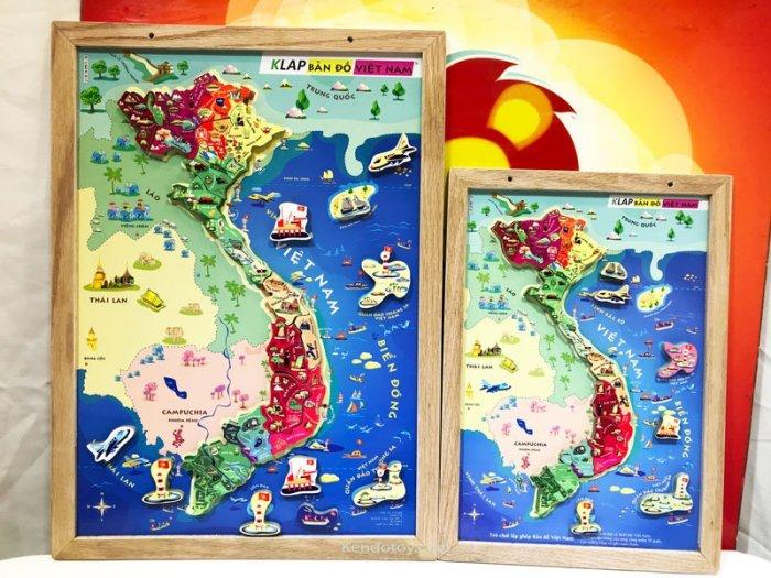 Tranh ghép bản đồ Việt Nam có nam châm A3 bằng gỗ4