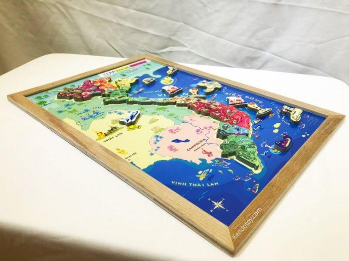 Tranh ghép bản đồ Việt Nam có nam châm A3 bằng gỗ3