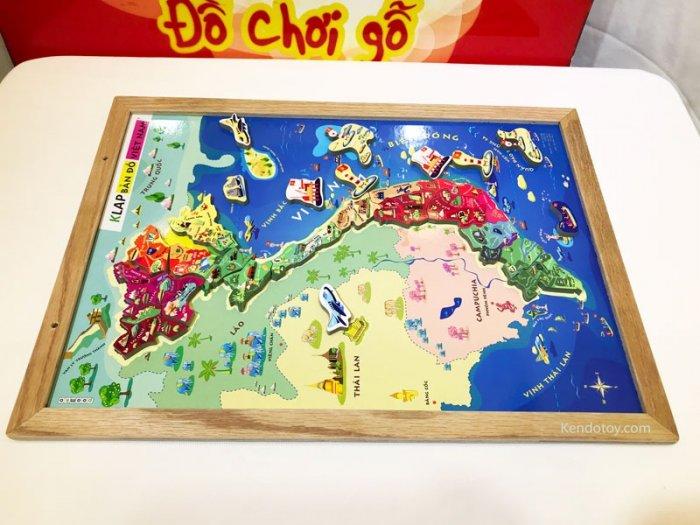 Tranh ghép bản đồ Việt Nam có nam châm A3 bằng gỗ2