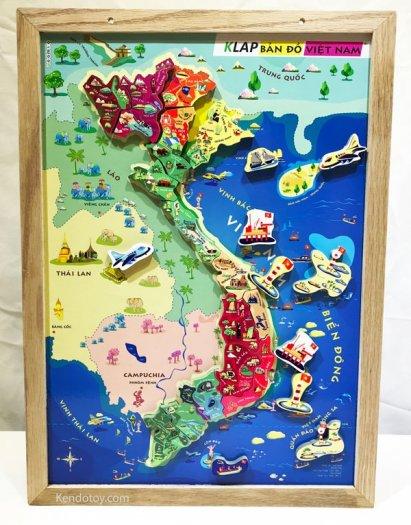 Tranh ghép bản đồ Việt Nam có nam châm A3 bằng gỗ1