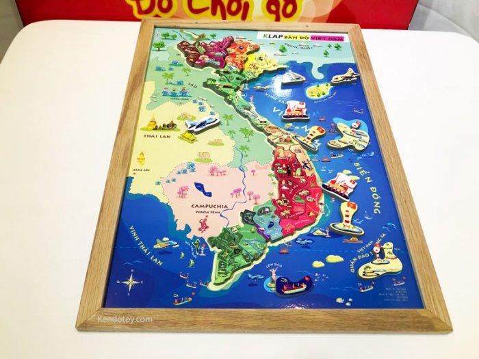 Tranh ghép bản đồ Việt Nam có nam châm A3 bằng gỗ0