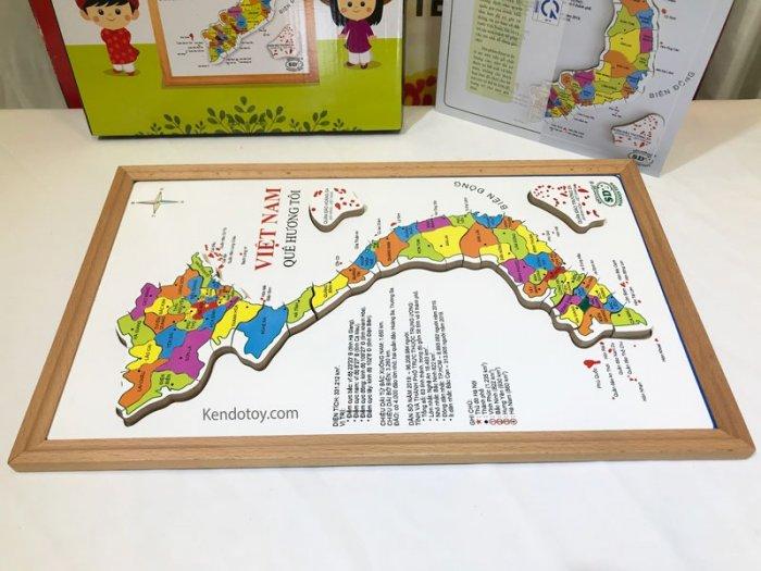 Bản đồ Việt Nam bằng gỗ tranh ghép có hộp và học liệu2