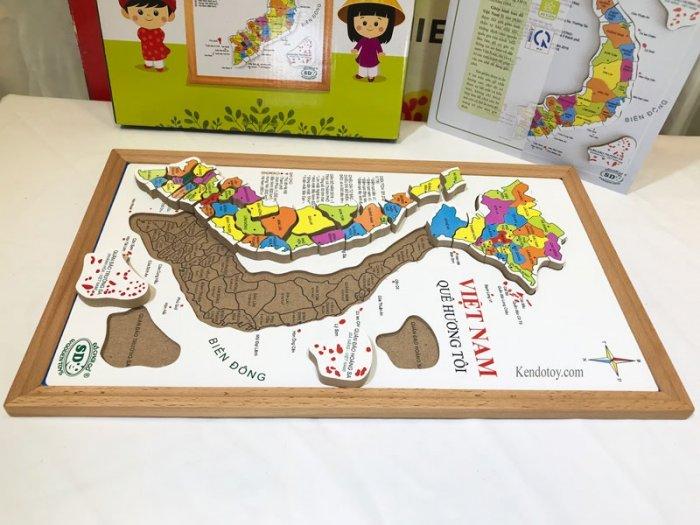 Bản đồ Việt Nam bằng gỗ tranh ghép có hộp và học liệu1