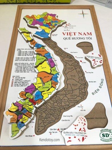 Bản đồ Việt Nam bằng gỗ tranh ghép có hộp và học liệu0