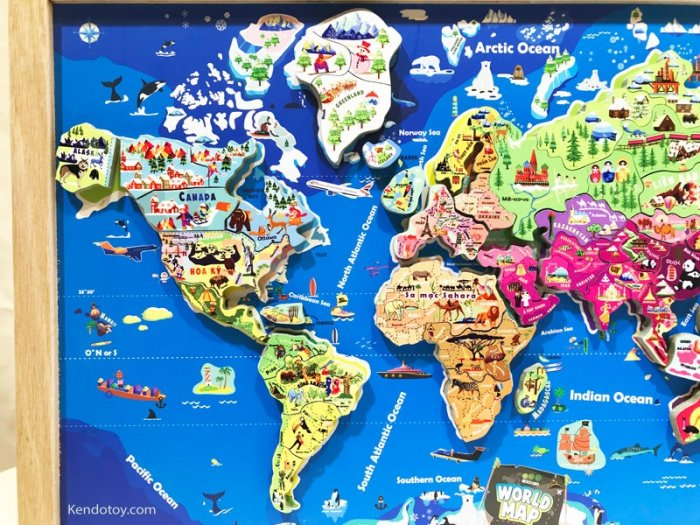 Tranh ghép bản đồ thế giới lắp ráp bằng gỗ | Wooden world map puzzle2