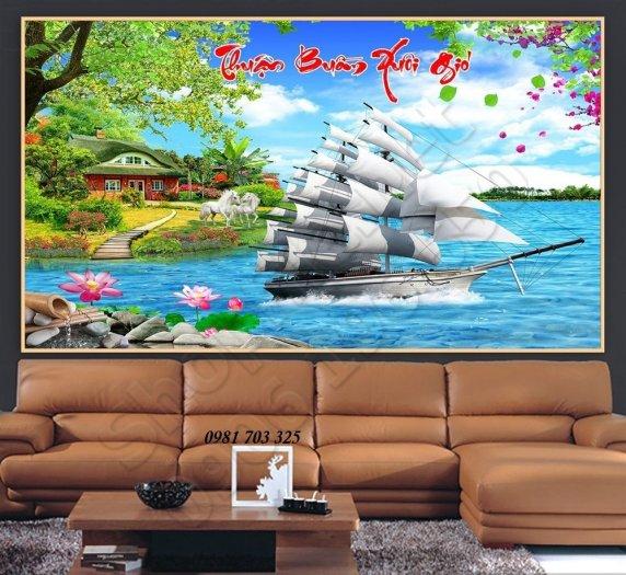 Tranh 3D phong thủy, gạch tranh thuyền buồm3