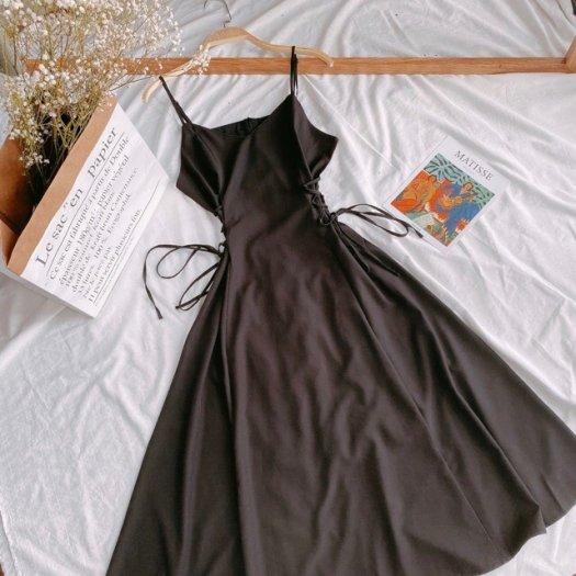 Đầm MiDi Đen Xoè 2 Dây Đan2