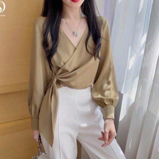 Áo Sơ Mi Nữ Vạt Chéo ( màu vàng)1