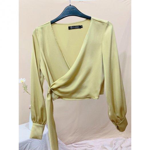 Áo Sơ Mi Nữ Vạt Chéo ( màu vàng)2