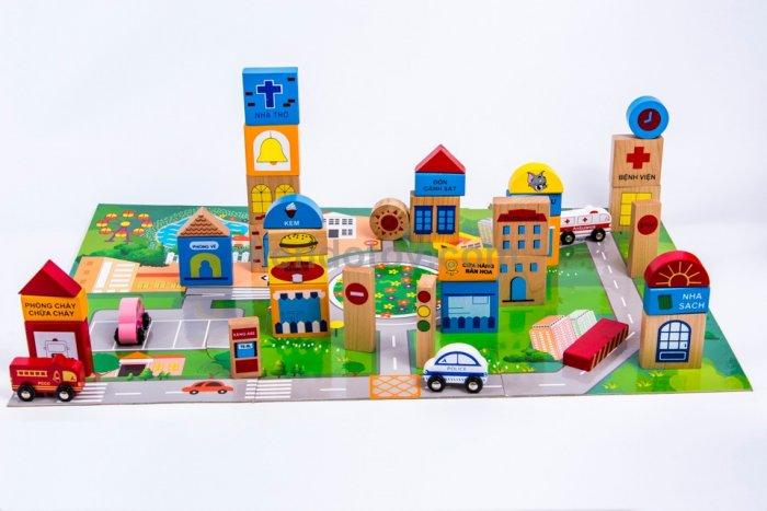 Đồ chơi gỗ mô hình thành phố tương lai nhập vai sáng tạo4
