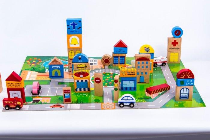 Đồ chơi gỗ mô hình thành phố tương lai nhập vai sáng tạo3