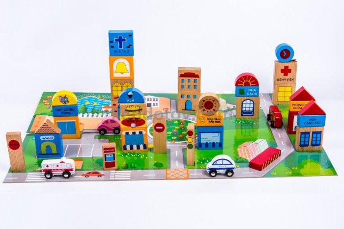 Đồ chơi gỗ mô hình thành phố tương lai nhập vai sáng tạo2