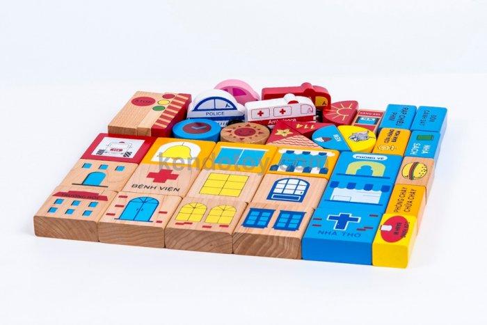 Đồ chơi gỗ mô hình thành phố tương lai nhập vai sáng tạo0