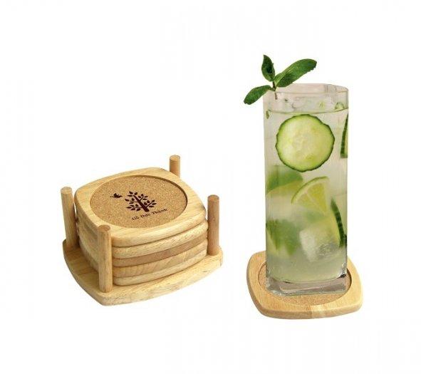 Bộ lót ly bầu bần bằng gỗ 6 cái và khay đựng có lớp hút nước1