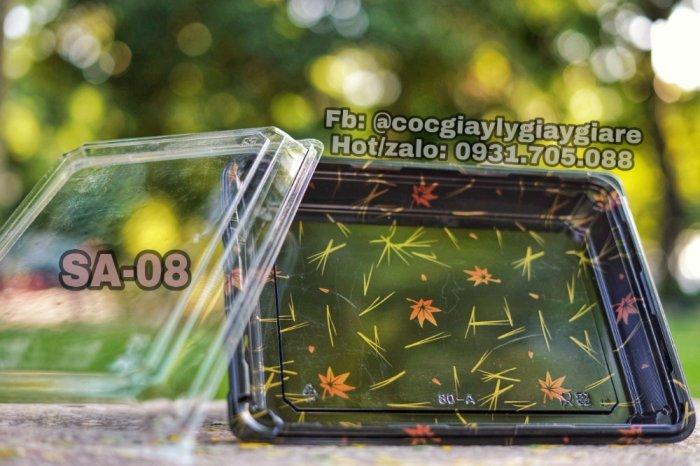 Khay nhựa đựng sushi,shasimi SA-03 (in họa tiết và đen trơn)3