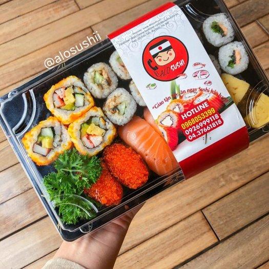 Khay nhựa đựng sushi,shasimi SA-03 (in họa tiết và đen trơn)1