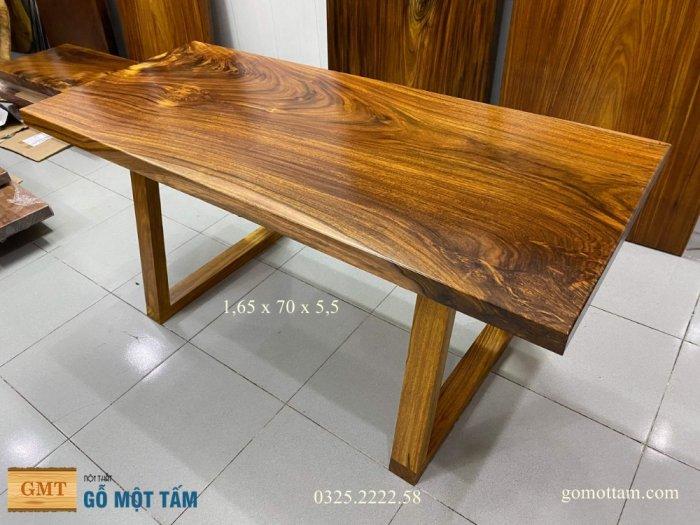 Bàn ăn gỗ me tây, bàn làm việc gỗ me tây nguyên tấm dài 1,65 x 70 x 58