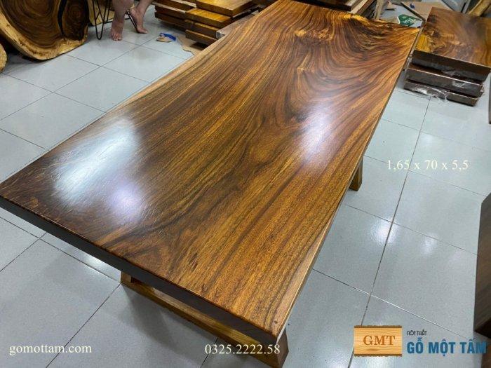 Bàn ăn gỗ me tây, bàn làm việc gỗ me tây nguyên tấm dài 1,65 x 70 x 57