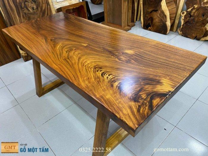 Bàn ăn gỗ me tây, bàn làm việc gỗ me tây nguyên tấm dài 1,65 x 70 x 55