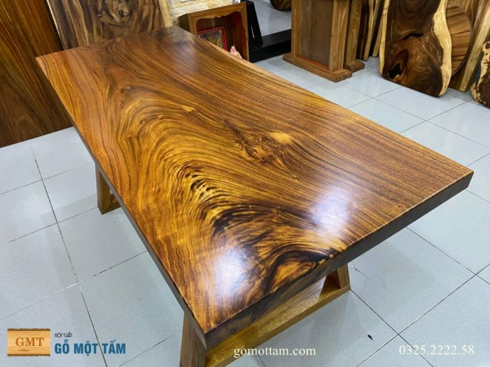 Bàn ăn gỗ me tây, bàn làm việc gỗ me tây nguyên tấm dài 1,65 x 70 x 54