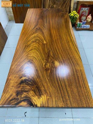 Bàn ăn gỗ me tây, bàn làm việc gỗ me tây nguyên tấm dài 1,65 x 70 x 53