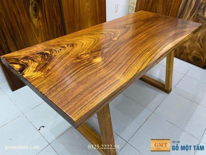 Bàn ăn gỗ me tây, bàn làm việc gỗ me tây nguyên tấm dài 1,65 x 70 x 51